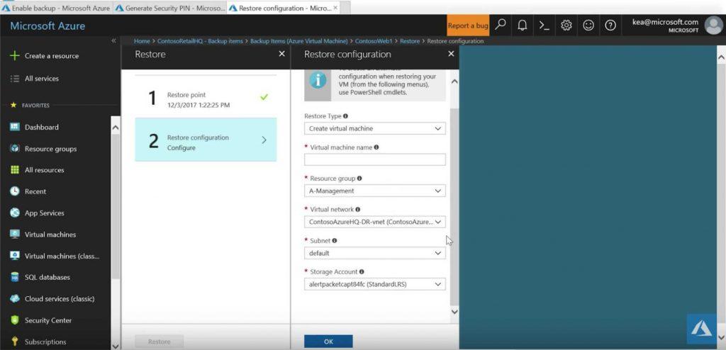 Azure cloud backups restore configuration