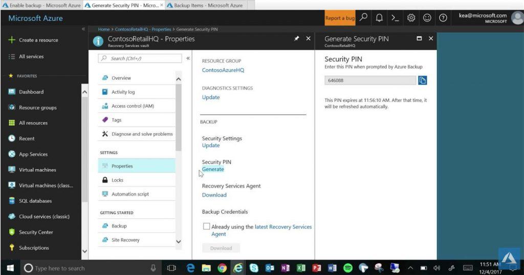 Azure cloud backups security pin